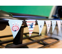 "Retro Bowling Party ""Let's Bowl"" Pennant Banner"