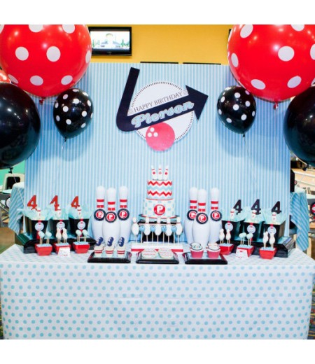 Retro Bowling Birthday Party Printable Collection - Red Blue