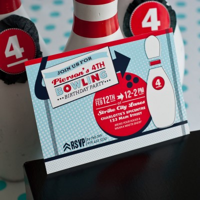 Retro Bowling Birthday Party Printable Invitation - Red Blue