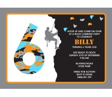 Rock Climbing Birthday Party Printable Invitation - Black Orange and Blue
