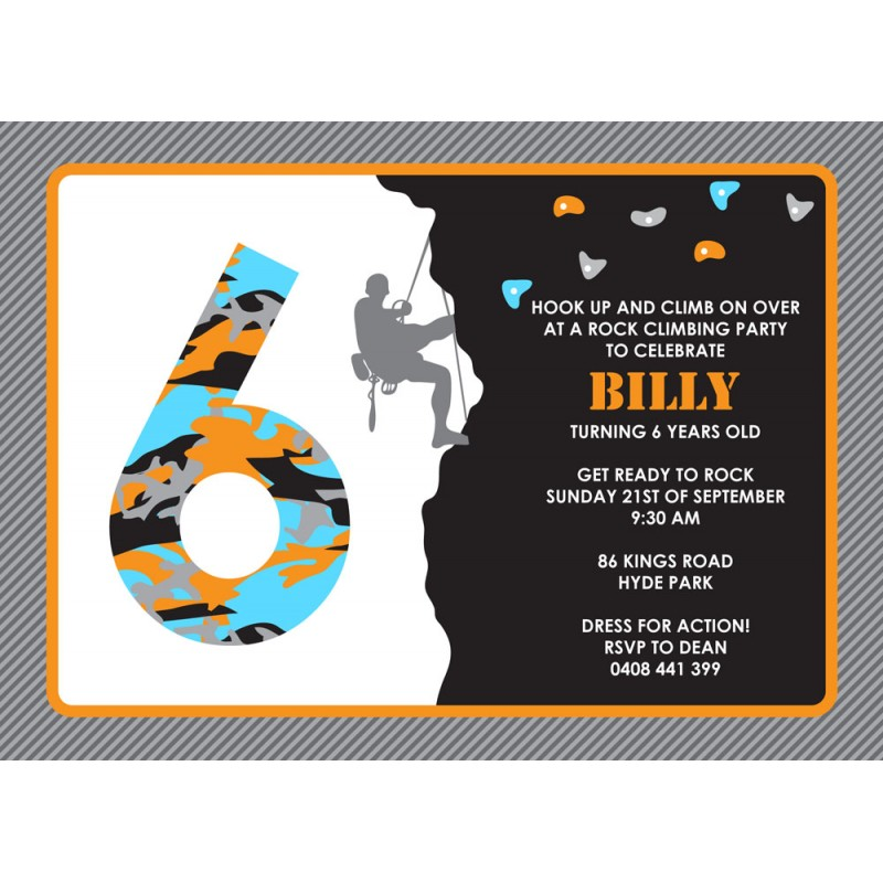 Rock Climbing Birthday Party Printable Invitation Black Orange And