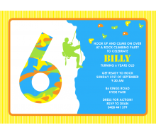 Rock Climbing Birthday Party Printable Invitation - Yellow and Green