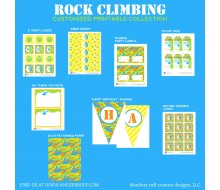 Rock Climbing Camo Birthday Party Printable Collection - Yellow and Green