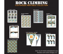 Rock Climbing Camo Birthday Party Printable Collection - Grey, Black, Orange and Blue