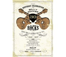 Vintage Rock Star Birthday Party Printable Invitation