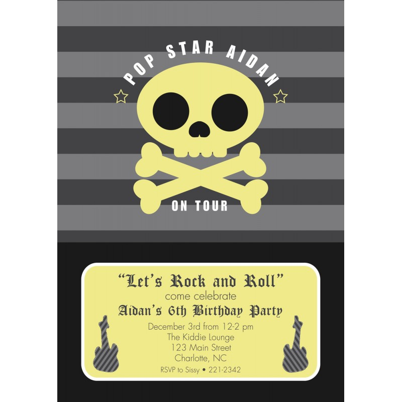 Rock Star Birthday Party Printable Invitation