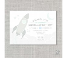 Vintage Rocket Spaceship Birthday Party Printable Invitation