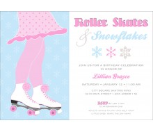 Roller Skates and Snowflakes Birthday Party Printable Invitation