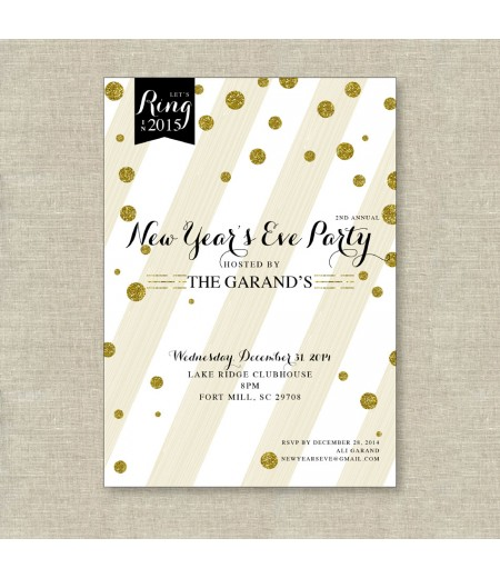 Rustic Glam Gold Glitter New Years Holiday Printable Invitation