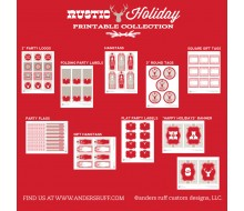 Rustic Holiday Christmas Printable Holiday Party Collection - Instant Download