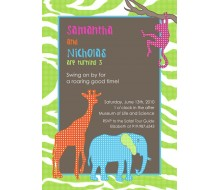 Safari Jungle Animals Printable Invitation - Green