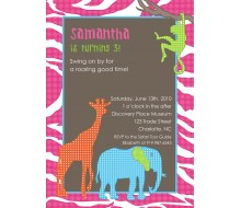 Safari Jungle Animals Printable Invitation - Pink
