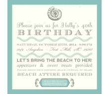Sandy Beach Birthday Party Printable Invitation