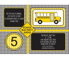 School Fun Bus Birthday Party Printable Invitation