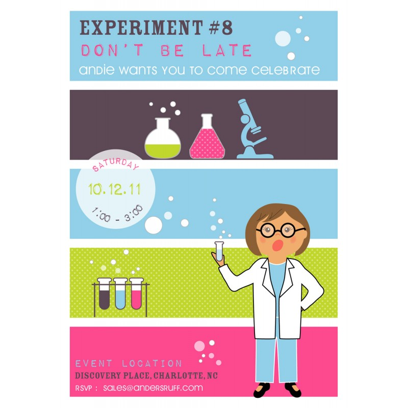 Scientist Girl Printable Birthday Party Invitation – Mad Scientist Birthday Party Invitations