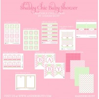 Shabby Chic Flowers Baby Shower Printables Collection