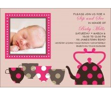 Sip and See Tea Cups Baby Shower Printable Invitation - Beige