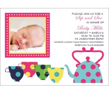 Sip and See Tea Cups Baby Shower Printable Invitation - White