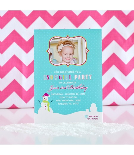 Snow Girl Winter Wonderland Birthday Party Printable Photo Invitation