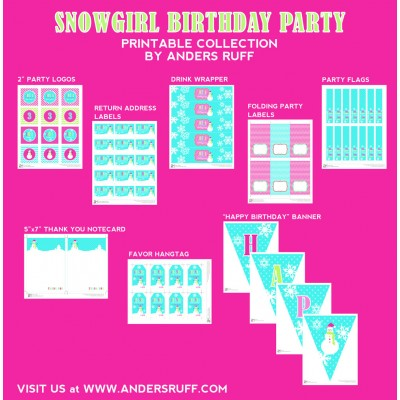 Snow Girl Winter Wonderland Birthday Party Printables Collection