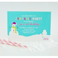 Snow Girl Winter Wonderland Birthday Party Printable Invitation