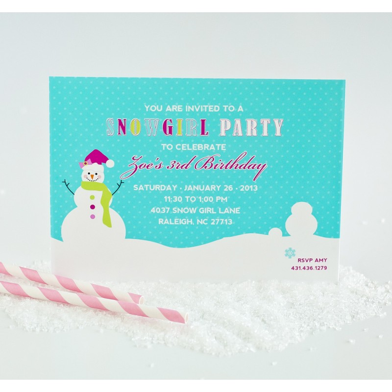 girl winter wonderland birthday party printable invitation, Birthday invitations