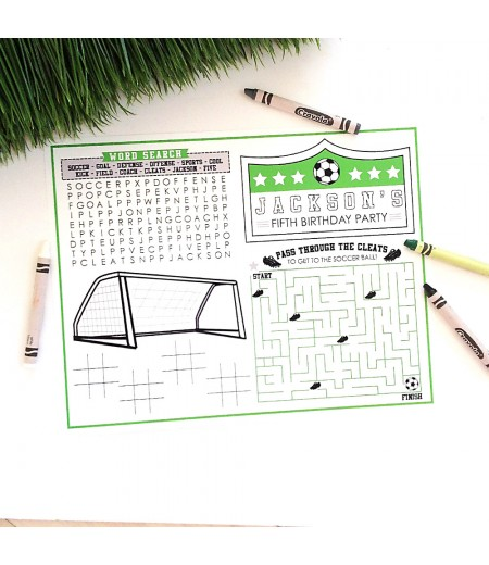 Soccer Party Printable Activity Coloring Placemat