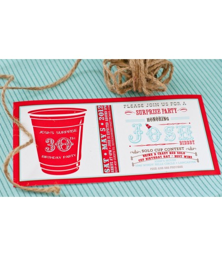 Red Solo Cup Party Printable 4x8 Invitation