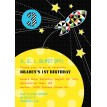 Spaceship Rocket Birthday Party Printable Invitation - Modern Geometric