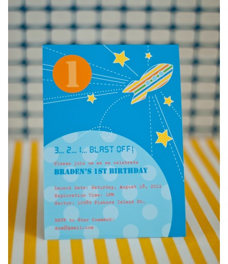 Spaceship Rocket Birthday Party Printable Invitation