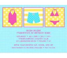Splish Splash Pool Party Birthday Printable Invitation - Girl