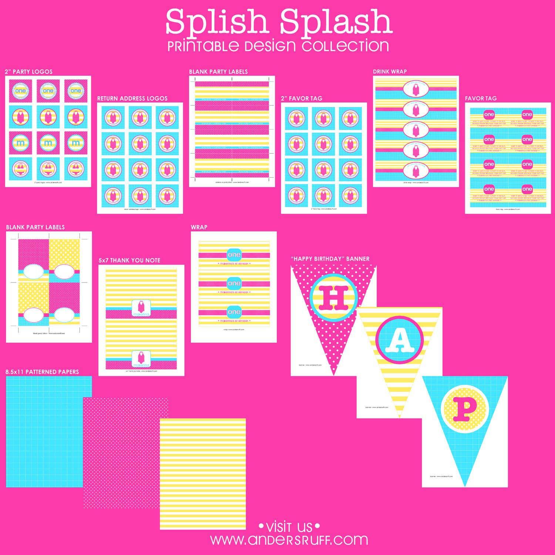 splish splash pool party birthday party printables collection girl