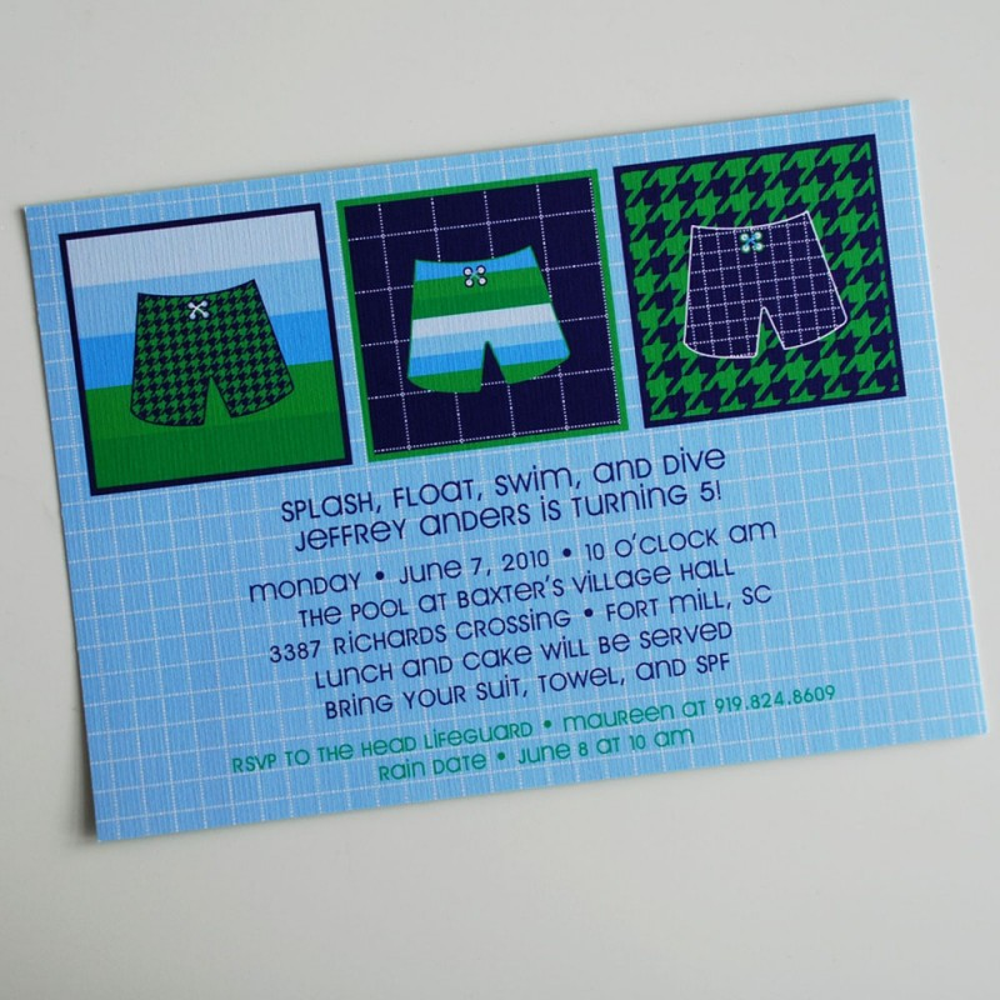 Splish Splash Pool Party Birthday Printable Invitation