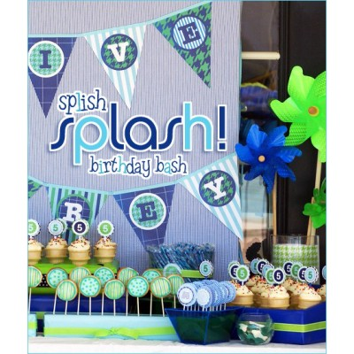 Splish Splash Pool Party Birthday Party Printables Collection - Boy