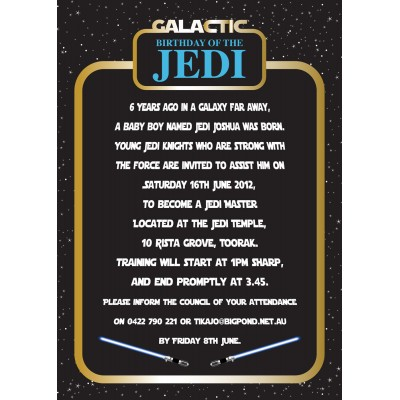 Star Jedi Inspired Birthday Party Printable Invitation