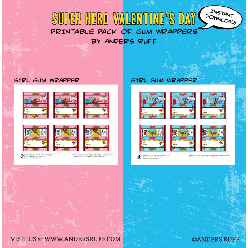 Super Hero Valentine\'s Day Printable Pack of Gum Wrapper Set ...