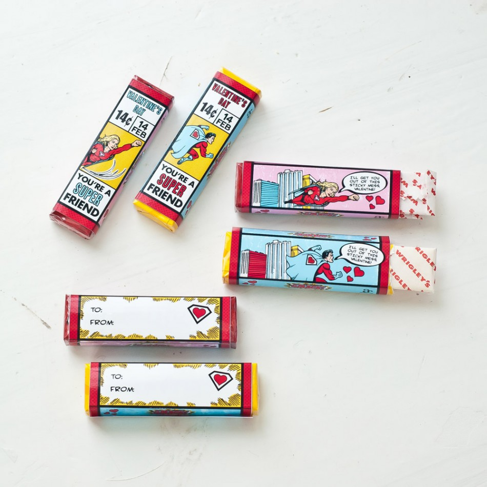 Super Hero Valentine's Day Printable Pack of Gum Wrapper Set - Instant ...
