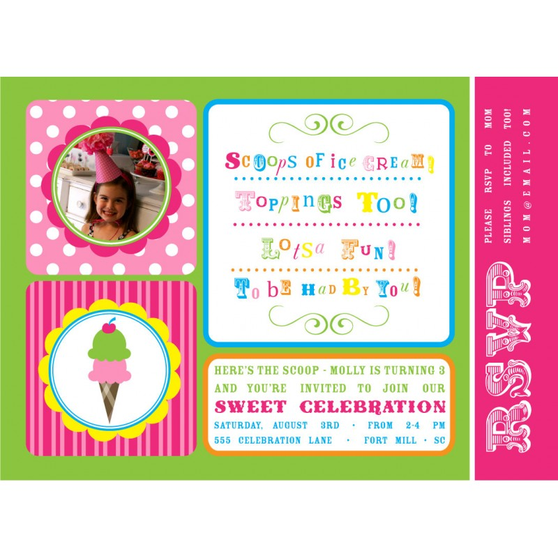 sweet celebration ice cream birthday party printable invitation