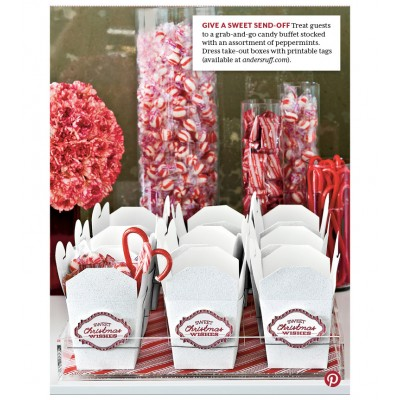 As Seen in Southern Living!  Sweet Christmas Wishes - Candy Cane Striped Favor Labels - Instant Download
