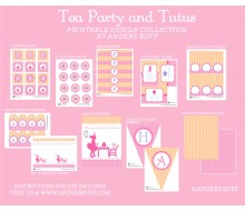 Tea Party with Baby Dolls and Tutus Birthday Party Printable Collection - Pink Lavender and Peach