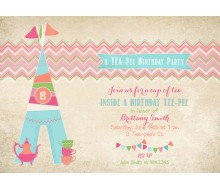 Tee-Pee Tea Party Glam Camping Glamping Birthday Party Printable Invitation
