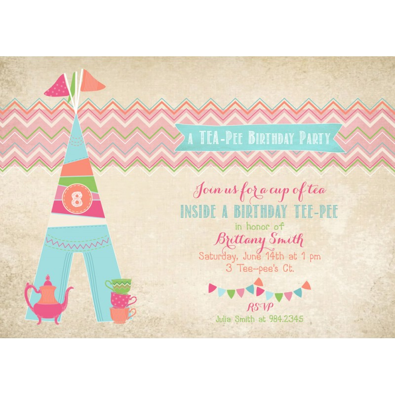 tee pee tea party glam camping glamping birthday party printable invitation - Camping Party Invitations