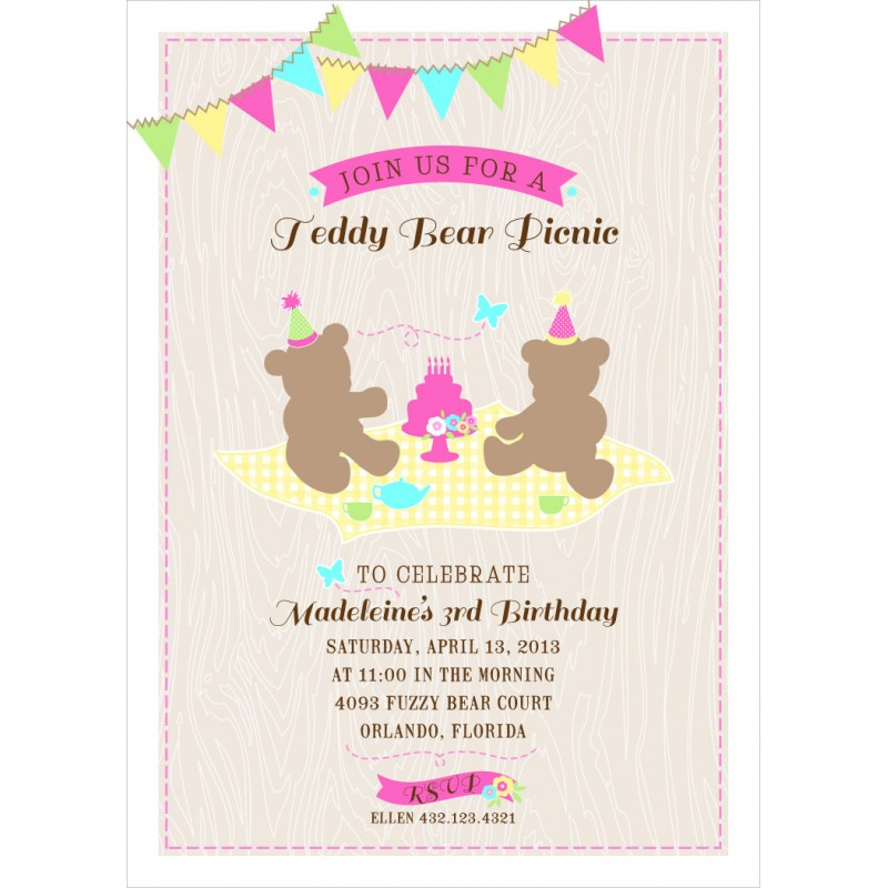 Bear Picnic Printable Birthday Party Invitation – Teddy Bears Picnic Party Invitations