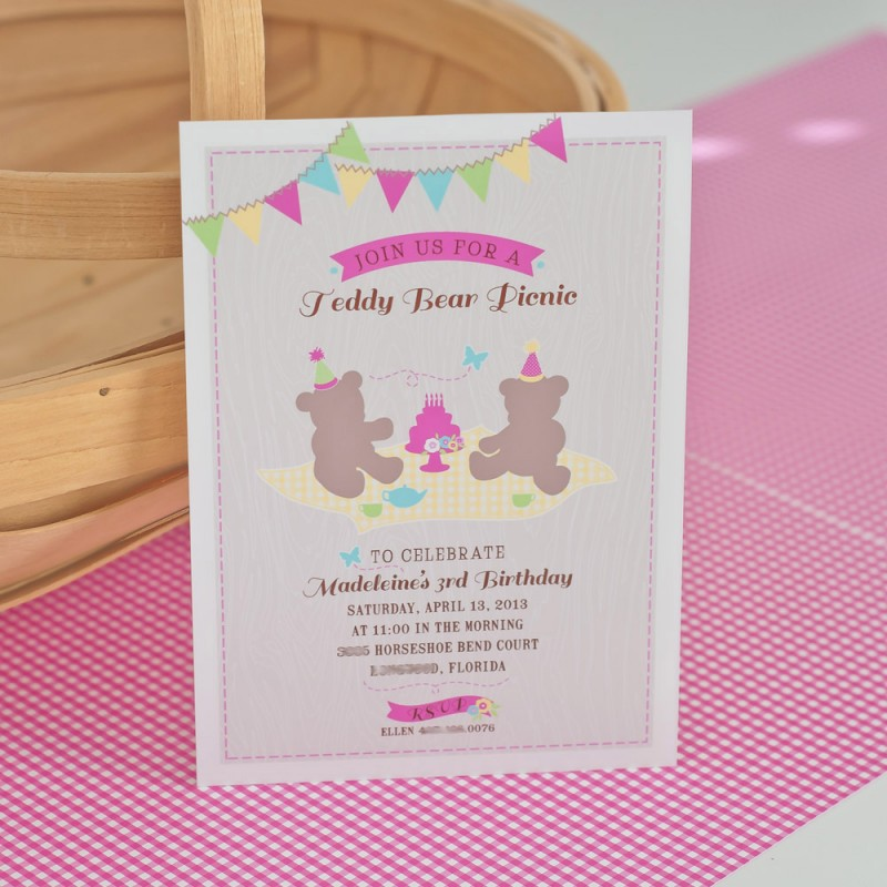 Bear Picnic Printable Birthday Party Invitation