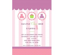 Teddy Bear Cupcake Birthday Party Printable Invitation