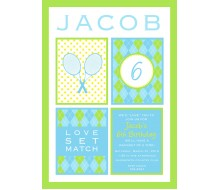 Preppy Tennis Birthday Party Printable Invitation - Blue Green