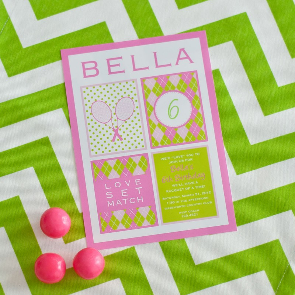 Preppy tennis birthday party printable invitation pink green filmwisefo