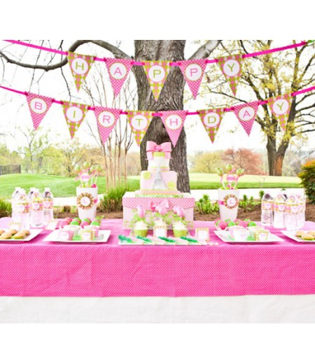 Preppy Tennis Birthday Party Printable Collection - Pink Green