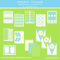Preppy Tennis Birthday Party Printable Collection - Blue Green