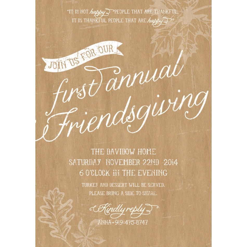 Rustic Thanksgiving Friendsgiving Printable Invitation